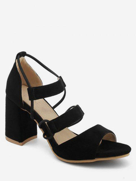 Plus Size Block Heel Casual Strappy Open Toe Sandals - BLACK 40