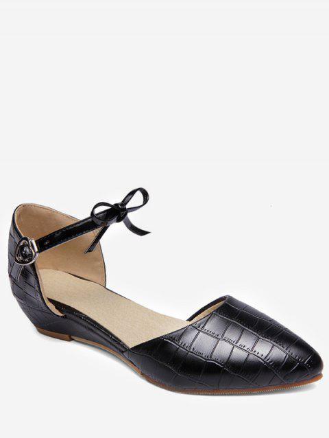 Plus Size Low Heel Pointed Toe Bow Chic Sandals - BLACK 37