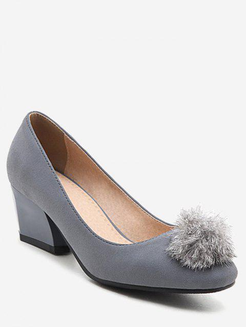 Plus Size Daily Pompom Embellished Block Heel Pumps - SMOKEY GRAY 42