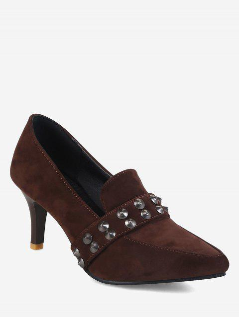 Plus Size Pointed Toe Studs High Heel Pumps - DEEP COFFEE 37
