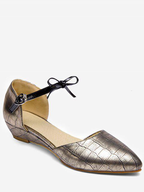 Plus Size Low Heel Pointed Toe Bow Chic Sandals - GOLD 37