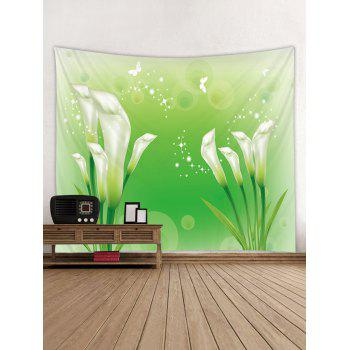 Floral Print Tapestry Wall Art - GREEN W59 INCH * L59 INCH