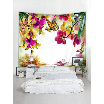 Flowers and Butterflies Print Tapestry Wall Art - multicolor W59 INCH * L59 INCH