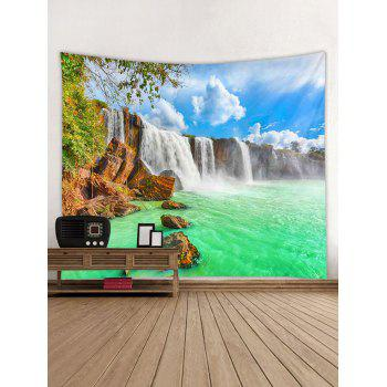 Beautiful Waterfall Printed Wall Hanging Picture Tapestry - GREEN W59 INCH * L59 INCH