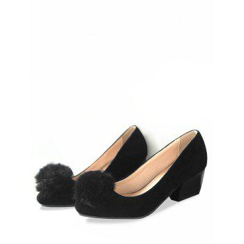 Plus Size Daily Pompom Embellished Block Heel Pumps - BLACK 41