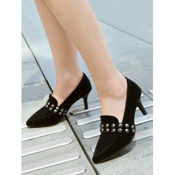 Plus Size Pointed Toe Studs High Heel Pumps - BLACK 41