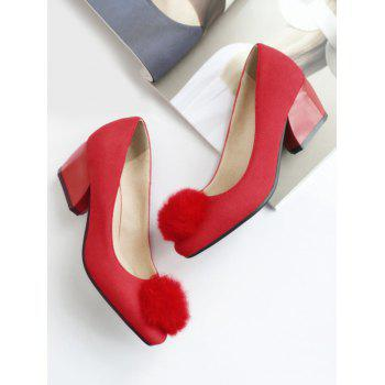 Plus Size Daily Pompom Embellished Block Heel Pumps - RED 43