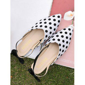 Pointed Toe Chic Polka Dot Bow Embellished Flats - WHITE 39