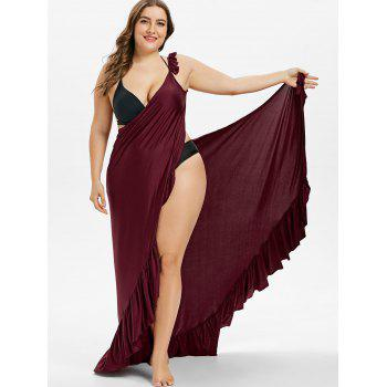 Maxi Plus Size Flounce Wrap Beach Dress - RED WINE 2X