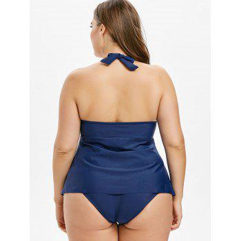 Plus Size Open Back Halter Tankini Set - MIDNIGHT BLUE L