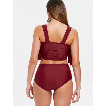 Ensemble De Tankini Col En U Insertion à Volant - Vin Rouge S