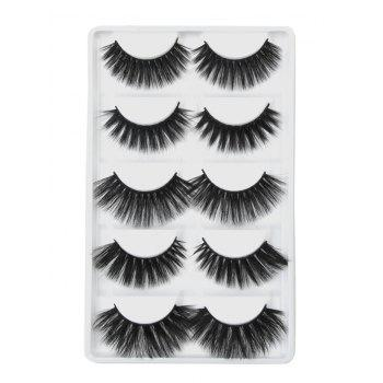 5Pcs Natural Curling Volumizing Handmade Mixed  False Eyelashes - BLACK