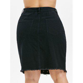 Plus Size Rivet Embellished Knee Length Skirt - BLACK 3X