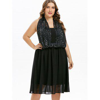 Plus Size Star Print A Line Dress - BLACK 3X