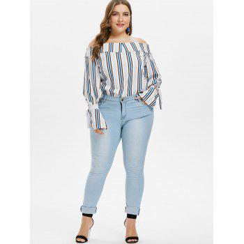 Plus Size Flared Sleeve Off Shoulder Top - multicolor 4X