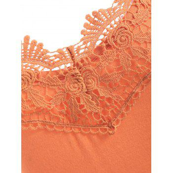 Crochet Lace Brim Open Back T-shirt - PAPAYA ORANGE L
