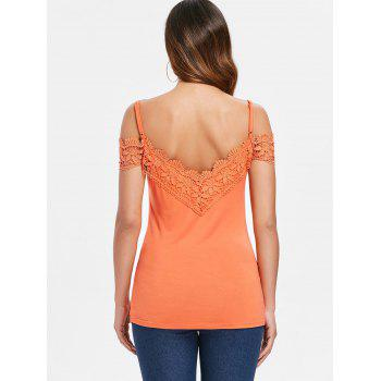 Crochet Lace Brim Open Back T-shirt - PAPAYA ORANGE XL