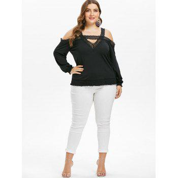 Lace Panel Plus Size Cut Out T-shirt - BLACK 3X