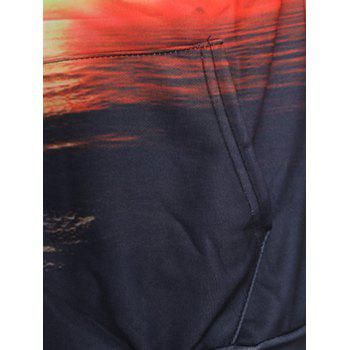Sunset Sea Print Drawstring Hoodie - FIREBRICK XS