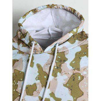 Long Sleeve Camouflage Spot Print Kangaroo Pocket Hoodie - FALL LEAF BROWN XS