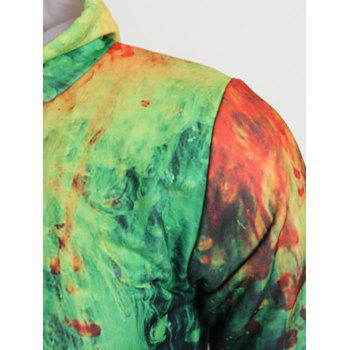 Drawstring 3D Paint Hoodie - SALAD GREEN M