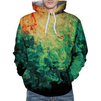 Drawstring 3D Paint Hoodie - SALAD GREEN L