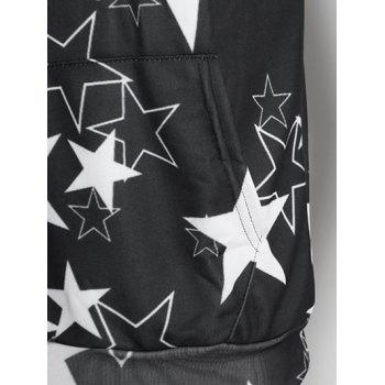 Kangaroo Pocket Allover Stars Print Hoodie - NIGHT S