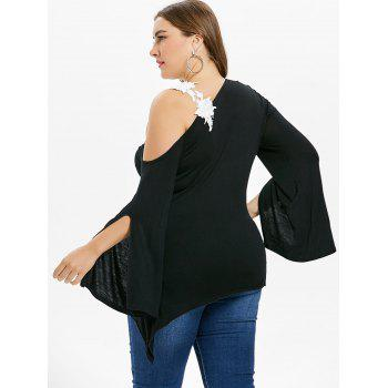 Plus Size Skew Neck Bell Sleeve T-shirt - BLACK 2X
