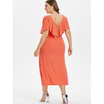 Plus Size Criss Cross Button Dress - PAPAYA ORANGE 4X