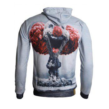 3D Mushroom Cloud Print Drawstring Hoodie - BATTLESHIP GRAY XS