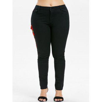 Plus Size Embroidered Skinny Jeans - BLACK 5X