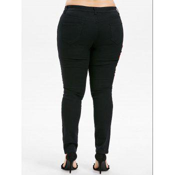 Plus Size Embroidered Skinny Jeans - BLACK L