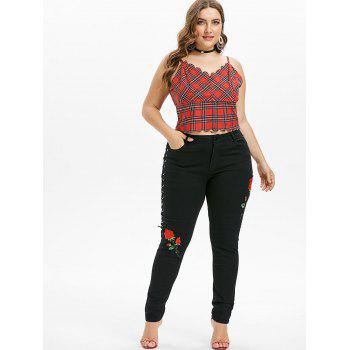 Plus Size Lace Up Zipper Jeans - BLACK 2X