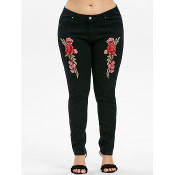 Plus Size Embroidery Knee Cut Jeans - BLACK 1X