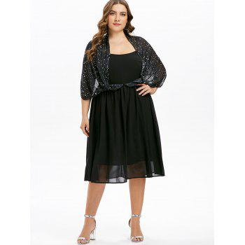 Plus Size Star Print A Line Dress - BLACK L