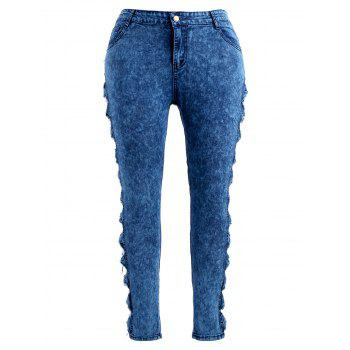 Plus Size Bowknot Zipper Jeans - DENIM DARK BLUE 2X