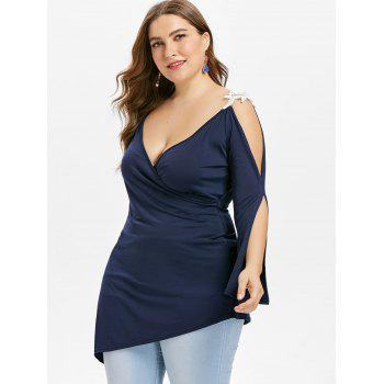 Plus Size Open Shoulder Asymmetric Top - DEEP BLUE L
