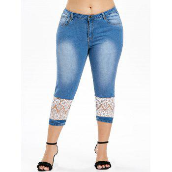 Lace Insert Plus Size Mid Waist Jeans - DENIM BLUE L