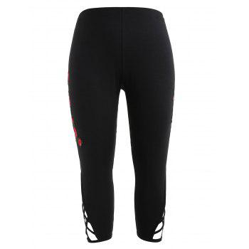 Plus Size Criss Cross Applique Leggings - BLACK 3X