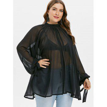 Plus Size Mock Neck See Thru Blouse - BLACK 1X