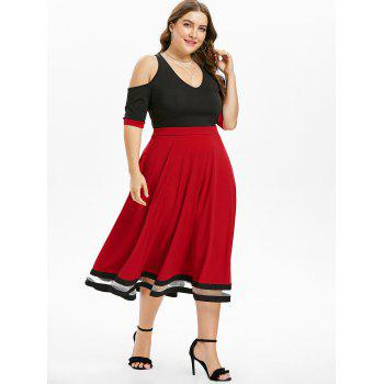 Plus Size Color Block Cold Shoulder Dress - BLACK 4X