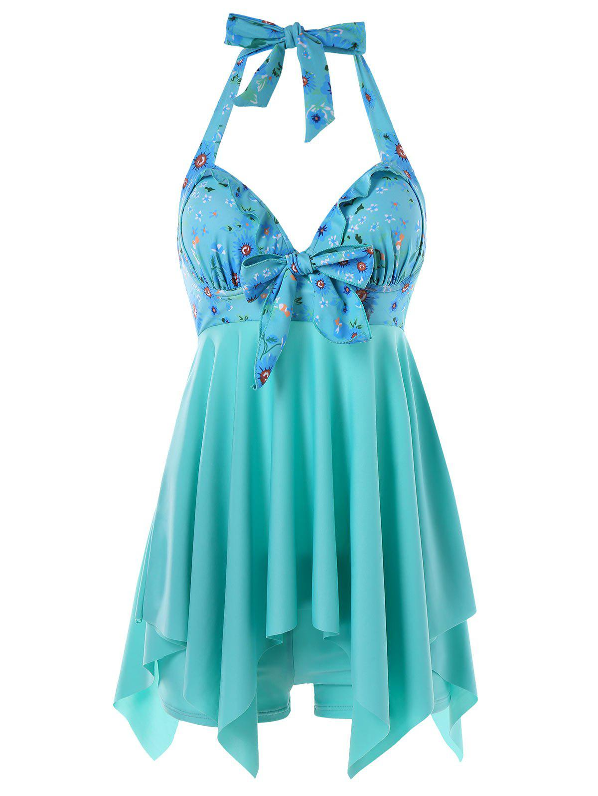 Daisy Printed Empire Waist Handkerchief Tankini - LIGHT SEA GREEN XL
