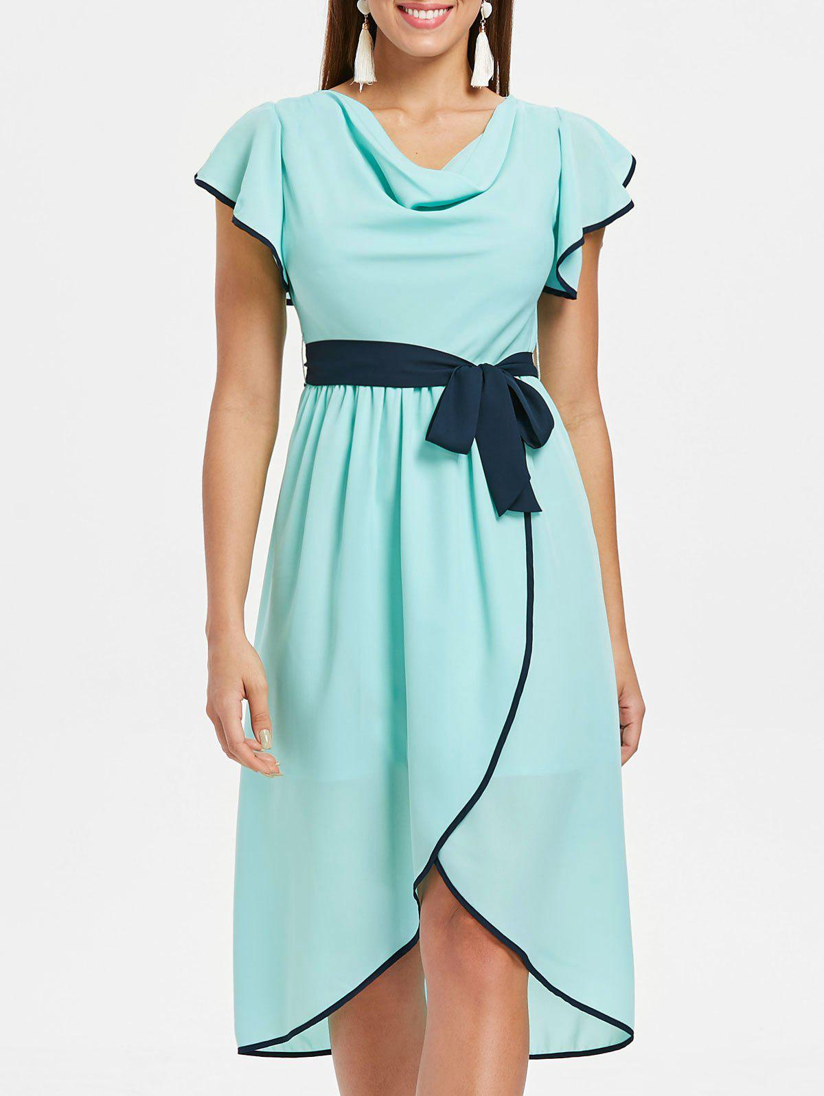 Ruffle Sleeve Midi Chiffon Tulip Dress - BLUE GREEN 2XL