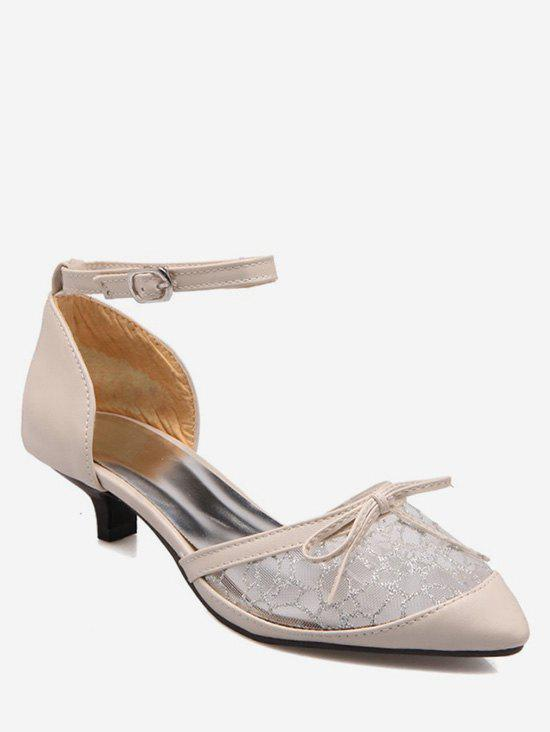 Plus Size Bow Splicing Ankle Strap Sandals, Beige