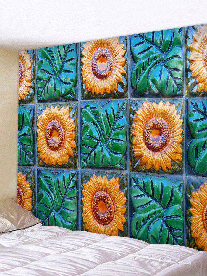 Sunflowers and Leaves Print Wall Hanging Tapestry - YELLOW W79 INCH * L59 INCH