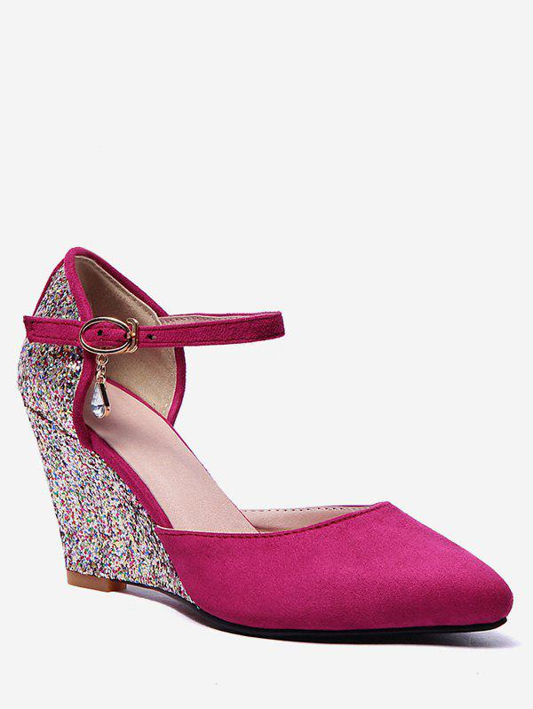 Plus Size Ankle Wrap Glitters Wedge Heel Chic Pumps - HOT PINK 39