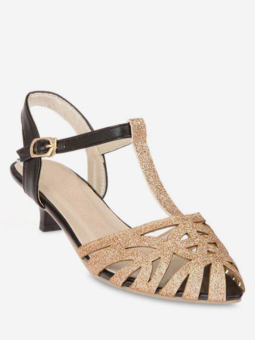 Plus Size T Strap Pointed Toe Hollow Out Sandals - GOLD 42