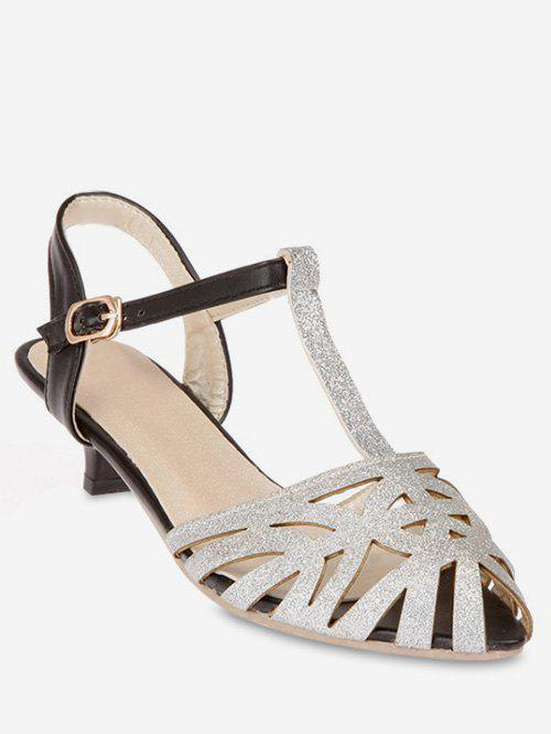 Plus Size T Strap Pointed Toe Hollow Out Sandals - SILVER 38