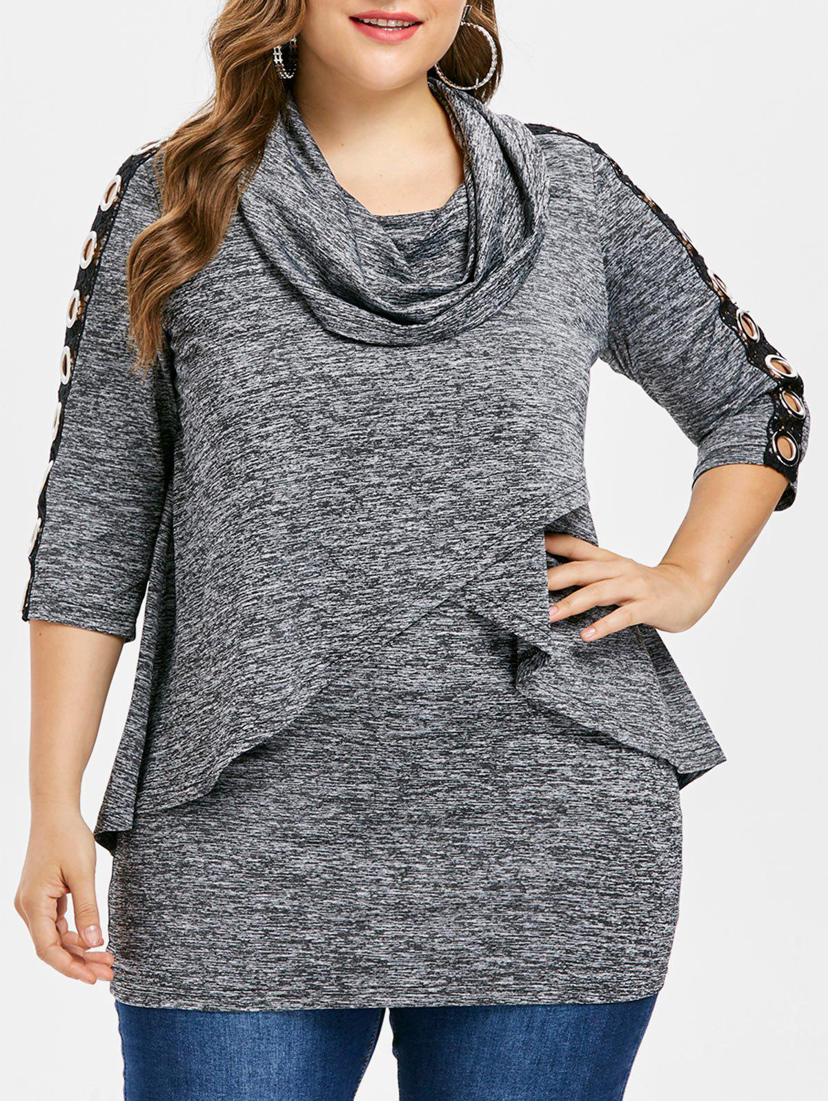Plus Size Grommets Detail Cowl Neck T-shirt