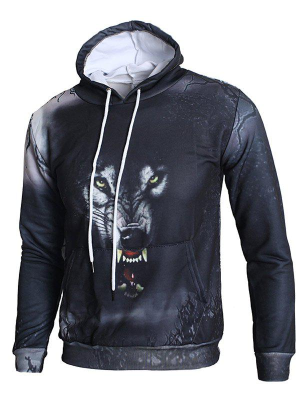 3D Angry Wolf Print Kangaroo Pocket Hoodie - NIGHT L